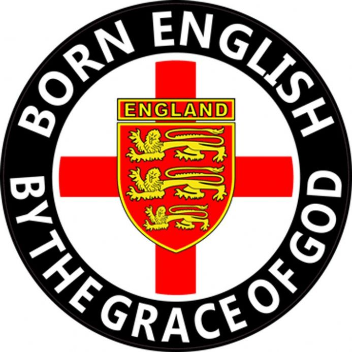 "England Rear Window Sticker ""Born English By the Grace of God"""